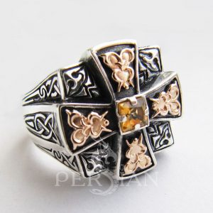 Серебряный мужской перстень «Апостол» с цитрином