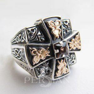 Серебряный мужской перстень «Апостол» с раухтопазом