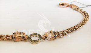Золотой браслет «Волки» с плетением Бисмарк