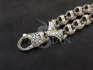 Двойной мужской браслет из серебра «Триада»