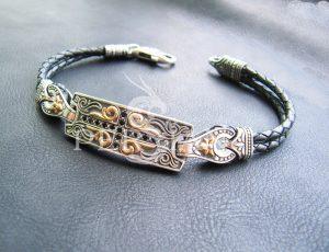 Серебряный браслет «Православный» с золотыми накладками