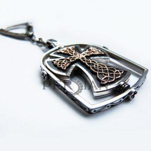 Православный брелок из серебра «Сила Мудрости» с золотом