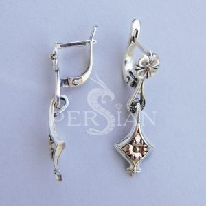 Длинные серебряные серьги «Цветок Флоры» с золотой накладкой
