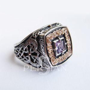 Серебряный перстень «Дар Волхвов Спаси и Сохрани» с аметистом