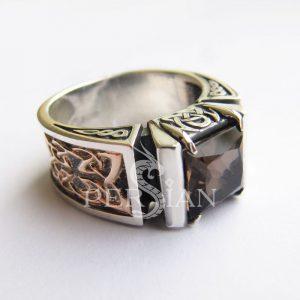 Серебряная мужская печатка «Fatum» с раухтопазом