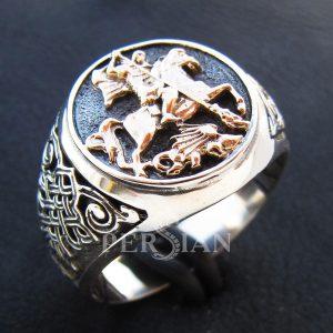 Серебряный перстень «Георгий Победоносец» с золотой накладкой