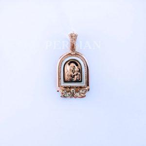 Подвеска золотая «Божья Матерь» с бриллиантами