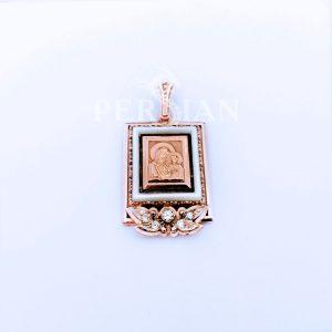 Подвеска золотая «Божья Матерь» с лепестками