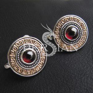 Серьги «Императрица» с гранатом и золотыми накладками