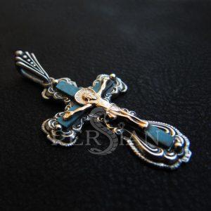 Крест женский с имитацией бирюзы
