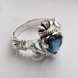 Серебряное кольцо «Кладдах» с лондон топазом