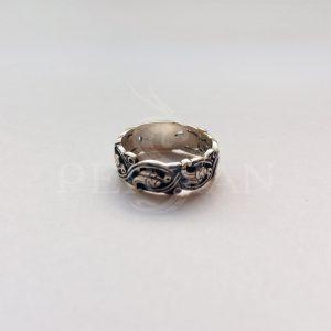 Кольцо серебряное «Райские Птички» широкое без бортика