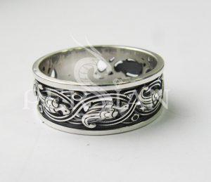 Кольцо серебряное «Райские Птички» широкое с бортом