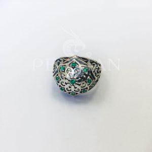 Кольцо серебряное «Арабская ночь» с зелёным агатом