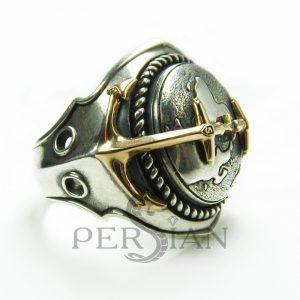 Серебряный перстень «Континенты» с золотой накладкой