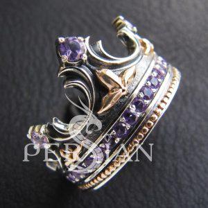 Серебряное кольцо «Корона» с аметистами