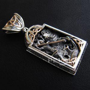 Образок «Георгий Победоносец» из серебра и золота