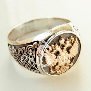 Серебряный перстень «Герб России» с золотой накладкой