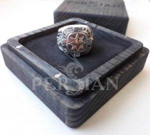 Серебряный перстень «Роза Ветров» с чёрными цирконами