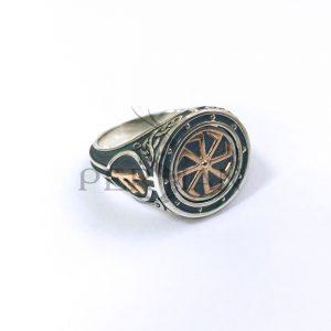 Серебряный перстень «Руны» с золотыми накладками