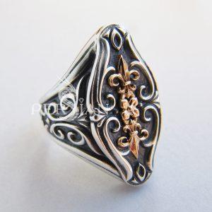 Серебряный женский перстень «Песнь Деборы» с золотой накладкой