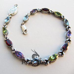Серебряный браслет «Рыбки» разноцветный