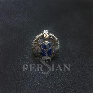 Перстень «Скарабей» с лазуритом и цирконом