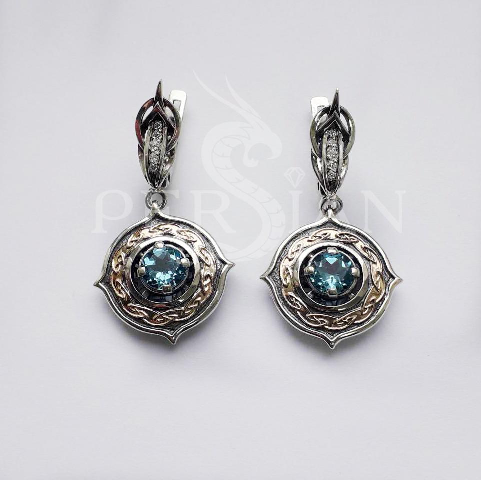 Серебряные серьги «Elfe» со свисс топазом