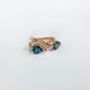 Золотые серьги «Кладдах» с лондон топазом