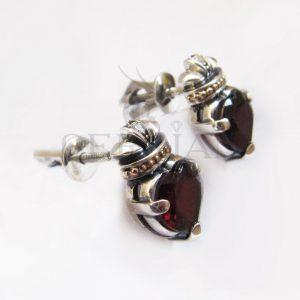 Серьги-пуссеты «Кладдах» серебряные с гранатом