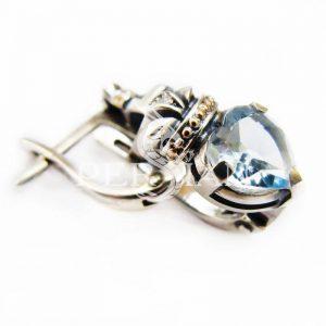 Серебряные серьги «Кладдах» со скай топазом
