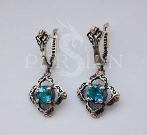 Серебряные серьги «Первоцвет» со свисс топазом