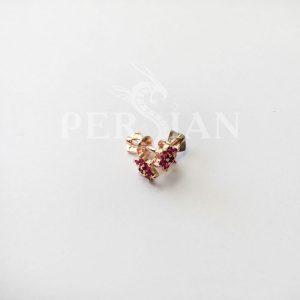 Серьги-пуссеты золотые с рубином