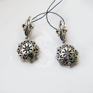 Серьги серебряные «Арабская ночь» со скай топазами