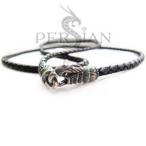 Кожаный шнурок «Верный Орёл» с серебряными наконечниками