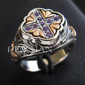Серебряный женский перстень «Свет Византии» с аметистом