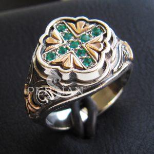 Серебряный женский перстень «Свет Византии» с зелёным агатом