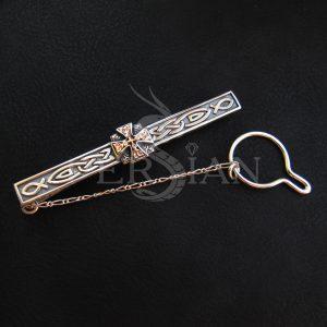 Серебряный зажим для галстука «Апостол» с золотой накладкой