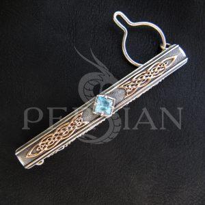 Серебряный зажим для галстука «Дар Волхвов» со свисс топазом