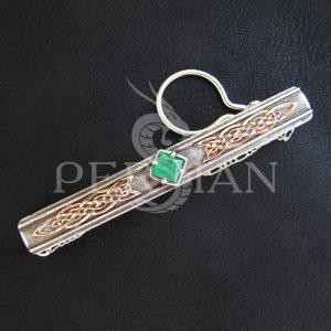 Серебряный зажим для галстука «Дар Волхвов» с зелёным агатом