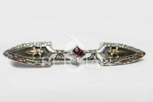 Серебряный зажим для галстука «Королевская Власть» с гранатом