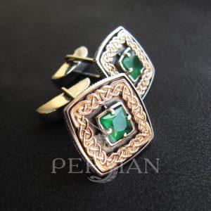 Серебряные запонки «Дар Волхвов» с зелёным агатом