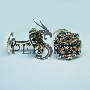 Серебряные запонки «Спаситель» с лондон топазами
