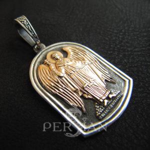 Подвес «Ангел Хранитель» серебряный с золотыми накладками