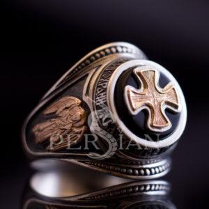 Серебряный перстень «Ангел Хранитель» с чёрным ониксом