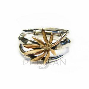 Серебряное кольцо «Бамбук» с золотой накладкой