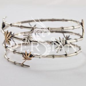 Серебряный браслет «Бамбук» с золотыми накладками