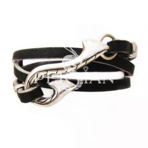 Кожаный браслет «Крюк» со вставками из серебра