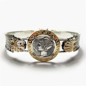 Серебряный браслет «Марс» с золотой накладкой