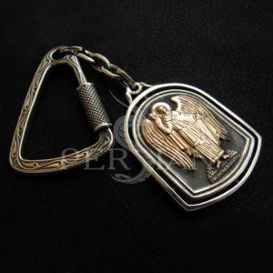 Брелок из серебра с золотой напайкой «Ангел - Хранитель»